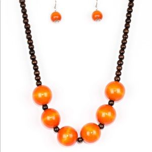 Oh My Miami Orange Necklace and Earrings Set
